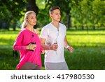 running couple jogging outdoor   Shutterstock . vector #417980530