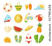 set of summer icons. summer and ... | Shutterstock .eps vector #417981658