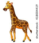 happy giraffe cartoon   Shutterstock .eps vector #418004419