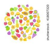 vector set of hand drawn fruit... | Shutterstock .eps vector #418007320