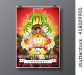 vector party flyer design on a... | Shutterstock .eps vector #418009900