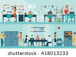 office people with office desk... | Shutterstock .eps vector #418013233