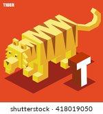 t for tiger. animal alphabet... | Shutterstock .eps vector #418019050