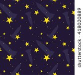 seamless cartoon space pattern. | Shutterstock .eps vector #418020889
