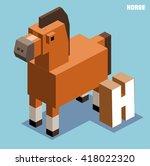 h for horse  animal alphabet... | Shutterstock .eps vector #418022320