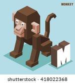 m for monkey. animal alphabet... | Shutterstock .eps vector #418022368