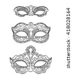 set of isolated carnival masks  ... | Shutterstock .eps vector #418028164