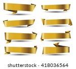 gold banner ribbon vector set...   Shutterstock .eps vector #418036564