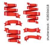 red banner ribbon vector set... | Shutterstock .eps vector #418036618