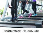 young asian people working out... | Shutterstock . vector #418037230