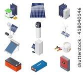 home solar energy equipment... | Shutterstock .eps vector #418040146