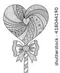 Heart Lollipop Line Art Design...