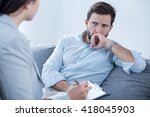 worried young man on... | Shutterstock . vector #418045903