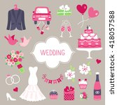 wedding design elements.... | Shutterstock .eps vector #418057588