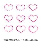retro scribble grunge heart... | Shutterstock . vector #418060036