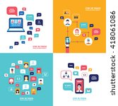 social network technology... | Shutterstock .eps vector #418061086