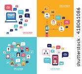 social network technology...   Shutterstock .eps vector #418061086