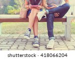 close up of hipster couple in... | Shutterstock . vector #418066204