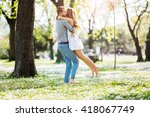 man missed his love and finally ... | Shutterstock . vector #418067749