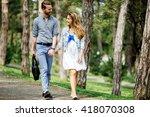 beautiful couple taking a walk...   Shutterstock . vector #418070308