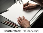 blank template for sketch  hand ... | Shutterstock . vector #418072654