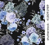 seamless floral pattern with... | Shutterstock .eps vector #418091989