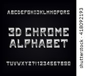 3d chrome alphabet font.... | Shutterstock .eps vector #418092193