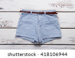 woman's new jeans shorts. new... | Shutterstock . vector #418106944