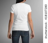female wearing white t shirt ... | Shutterstock . vector #418107280