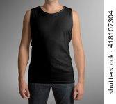male wearing black tank top...   Shutterstock . vector #418107304