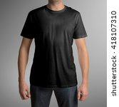 man wearing black t shirt...   Shutterstock . vector #418107310
