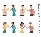 businessman and woman clapping... | Shutterstock .eps vector #418109074