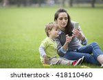happy mother playing with her...   Shutterstock . vector #418110460
