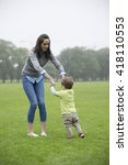 happy mother playing with her...   Shutterstock . vector #418110553