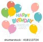 colorful happy birthday... | Shutterstock .eps vector #418113724