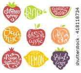 names of fruits in fruit shaped ... | Shutterstock .eps vector #418118734