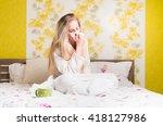 sick womanin bed. ill girl...   Shutterstock . vector #418127986