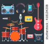 colorful musical instruments.... | Shutterstock .eps vector #418134208