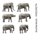 elephant set  clipping paths... | Shutterstock . vector #418134274