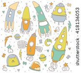 collection of sketchy space... | Shutterstock .eps vector #418136053