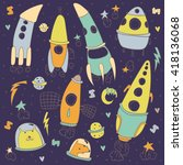 collection of sketchy space... | Shutterstock .eps vector #418136068