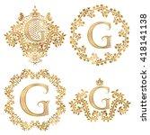 golden letter g vintage... | Shutterstock .eps vector #418141138
