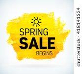 yellow hand paint artistic dry... | Shutterstock .eps vector #418141324