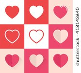 flat heart icons | Shutterstock .eps vector #418143640