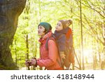 to carry the child travels with ... | Shutterstock . vector #418148944