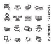 thin line solar power icon set  ... | Shutterstock .eps vector #418154053