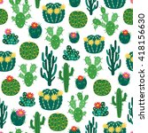 seamless pattern with blooming... | Shutterstock .eps vector #418156630