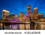 Stock photo city center of boston massachusetts usa around dusk 418160848