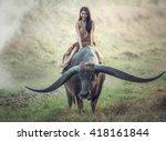 asian woman  thai  farmer with... | Shutterstock . vector #418161844