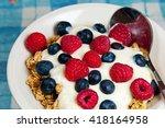 healthy breakfast in a bowl... | Shutterstock . vector #418164958